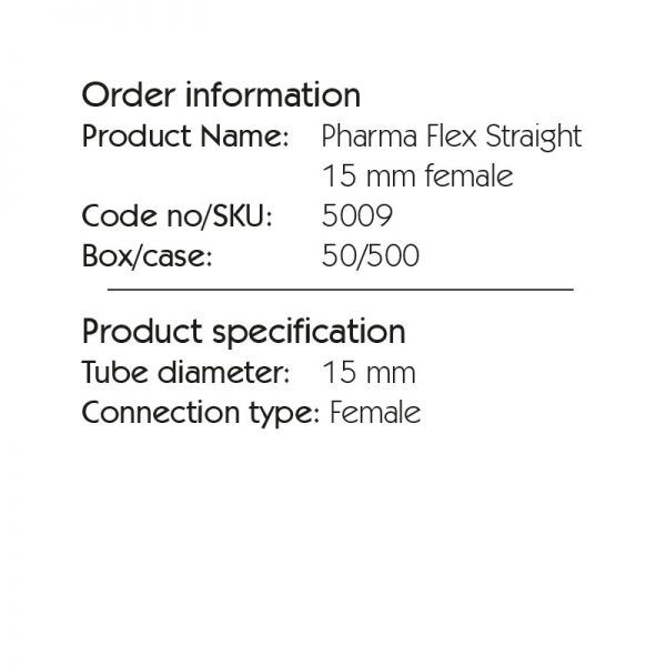 Pharma Flex Straight 15 mm female 5009. The flexible link between the patient and breathing systems – a tool for positioning control